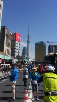 東京マラソンでのスカイツリー